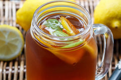 Summer refreshing drink. Citrus ice tea Stock Image