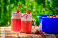 Free Summer Refreshing Drink Homemade Lemonade With Strawberries In Glasses With A Straw Royalty Free Stock Images - 118161589