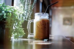 Summer refreshing drinks, cold iced coffee on wood table in relaxing atmosphere coffee shop with blurred indoor potted plants stock photography