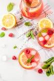 Raspberry mojito or lemonade. Summer refreshing drinks, fruit and berry raspberry mojito or lemonade with fresh mint, frozen raspberries, slices of lemon, ice Royalty Free Stock Photos
