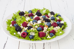 Summer refreshing mixed berry salad with pumpkin seeds, blue cheese, feta and almonds. Stock Images