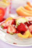 Summer refreshment. Fresh fruits for hot summer with low calorie Stock Photos