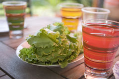 Summer refreshment cocktails. With fresh lettuce Stock Photos