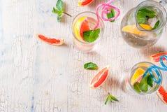 Summer refreshment grapefruit drink. Summer refreshment detox water drink with Pink grapefruit and fresh mint, spa fruit water, lemonade or jin tonic cocktail Stock Photo