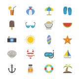 Summer Relax and Beach Flat Icons color Stock Image