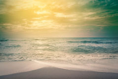 Summer relax outdoor concept. - vintage color filter. Landscape of tropical beach nature with coconut tree and clouds on horizon in Thailand. Summer relax royalty free stock photos