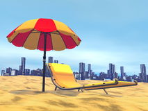 Summer relaxation, city behind- 3D render Stock Images