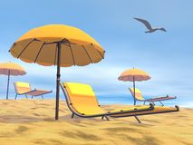 Summer relaxation - 3D render Royalty Free Stock Photo