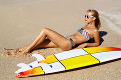 Summer Relaxation On Holidays Vacation. Healthy Woman On Beach. Royalty Free Stock Photo