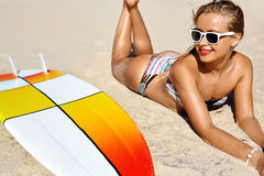 Summer Relaxation On Holidays Vacation. Healthy Woman On Beach. Royalty Free Stock Images