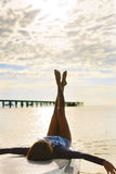Summer Relaxation. Woman Relaxing On Beach. Lifestyle, Freedom, Royalty Free Stock Images