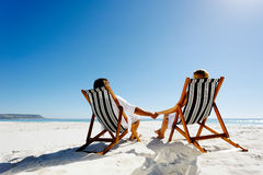 Summer relaxing beach couple