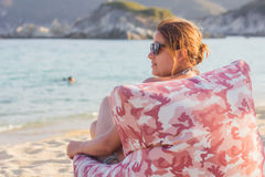 Summer Relaxing on the Beach Royalty Free Stock Photos
