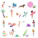 Summer relaxing people and leisure activity in the ocean beach icons set. Modern gradient flat design vector stock illustration