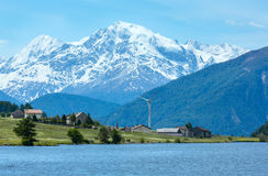 Summer Reschensee alpine view (Italy). Royalty Free Stock Image