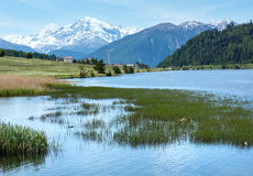 Summer Reschensee alpine view (Italy). Royalty Free Stock Images