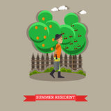 Summer resident, vector illustration in flat style. Gardener man with bucket of ripe pears Stock Image