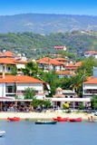 Summer resort boats beach Greece Stock Photos