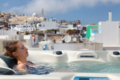 Summer resort in Fira, Santorini Royalty Free Stock Image