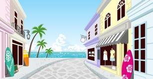 Summer Resort Shopping Street-EPS10 Stock Photos