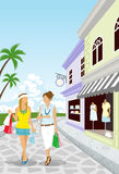Summer Resort Shopping women-EPS10. Women Shopping in Summer Resort Stock Photography