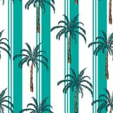 Summer resort stripe with plam tree seamless pattern ,vector fot. Fashion fabric and all prints wallpaper ,book cover,on stylish green mint line Royalty Free Stock Image