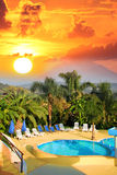 Summer resort with swimming pool Stock Image
