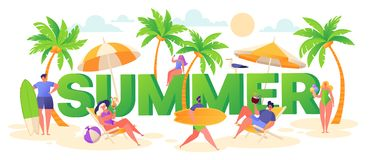Banner on summer vacation theme. Outdoor activity and rest on the beach. royalty free illustration