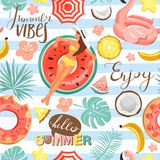 Summer Rest And Vacation Collage. Seamless Pattern With Woman Floating On Inflatable Ring, Flowers And Lettering. Stock Image