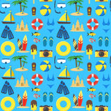 Summer Rest Background Pattern on a Blue. Vector Royalty Free Stock Photos
