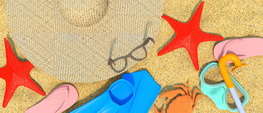 Summer-Rest-Beach-3D Royaltyfri Illustrationer