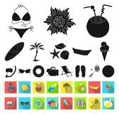 Summer rest black,flat icons in set collection for design. Beach accessory vector symbol stock web illustration. Summer rest black,flat icons in set collection royalty free illustration