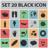 Summer rest black icons in set collection for design. Beach accessory vector symbol stock web illustration. Summer rest black icons in set collection for design Royalty Free Stock Image