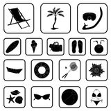 Summer rest black icons in set collection for design. Beach accessory vector symbol stock web illustration. Summer rest black icons in set collection for design Royalty Free Stock Images