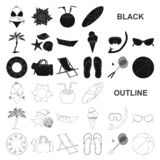 Summer rest black icons in set collection for design. Beach accessory vector symbol stock web illustration. Summer rest black icons in set collection for design stock illustration