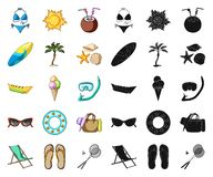 Summer rest cartoon,black icons in set collection for design. Beach accessory vector symbol stock web illustration. Summer rest cartoon,black icons in set vector illustration