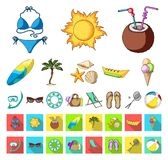 Summer rest cartoon,flat icons in set collection for design. Beach accessory vector symbol stock web illustration. Summer rest cartoon,flat icons in set royalty free illustration