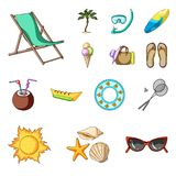 Summer rest cartoon icons in set collection for design. Beach accessory vector symbol stock web illustration. Summer rest cartoon icons in set collection for Royalty Free Stock Photo