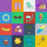 Summer rest cartoon icons in set collection for design. Beach accessory vector symbol stock web illustration. Summer rest cartoon icons in set collection for vector illustration