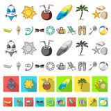 Summer rest cartoon icons in set collection for design. Beach accessory vector symbol stock web illustration. Summer rest cartoon icons in set collection for royalty free illustration