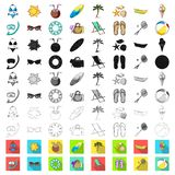 Summer rest cartoon icons in set collection for design. Beach accessory vector symbol stock web illustration. Summer rest cartoon icons in set collection for stock illustration