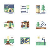 Summer rest flat color icons Royalty Free Stock Images