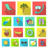 Summer rest flat icons in set collection for design. Beach accessory vector symbol stock web illustration. Summer rest flat icons in set collection for design Royalty Free Stock Photography