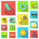 Summer rest flat icons in set collection for design. Beach accessory vector symbol stock web illustration. Summer rest flat icons in set collection for design Stock Photography
