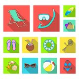 Summer rest flat icons in set collection for design. Beach accessory vector symbol stock web illustration. Stock Photo