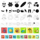 Summer rest flat icons in set collection for design. Beach accessory vector symbol stock web illustration. Summer rest flat icons in set collection for design stock illustration