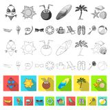Summer rest flat icons in set collection for design. Beach accessory vector symbol stock web illustration. Summer rest flat icons in set collection for design vector illustration