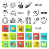 Summer rest flat icons in set collection for design. Beach accessory vector symbol stock web illustration. Summer rest flat icons in set collection for design royalty free illustration