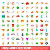 100 summer rest icons set, cartoon style Stock Photos