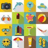Summer rest icons set, flat style. Summer rest icons set. Flat illustration of 16 summer rest vector icons for web Stock Images